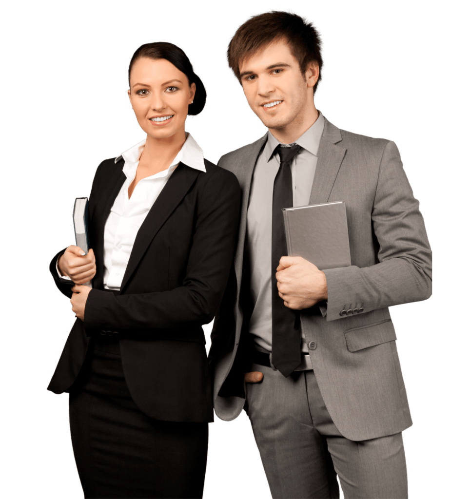A male and female business partners in suits, carrying files and standing next to each other.
