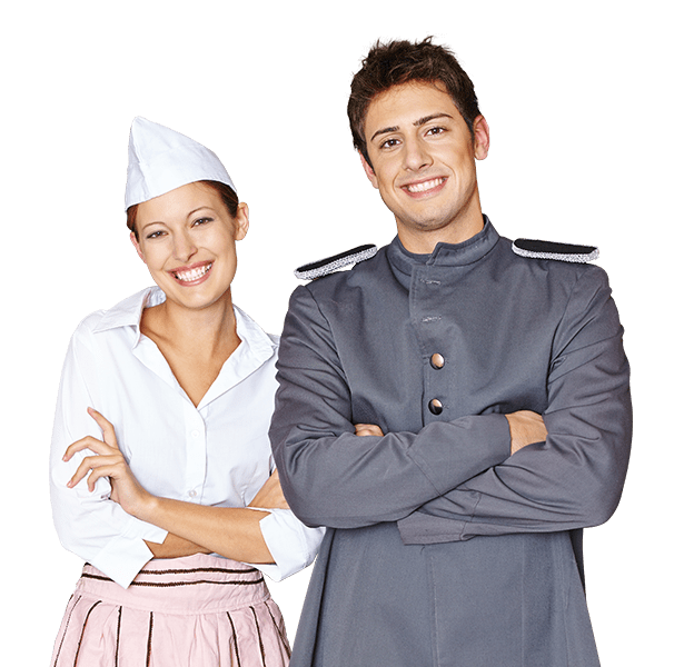 Do a Guest House Management Short Course. You will be in charge of butlers that could be in charge of butlers that wear white and grey uniforms like the man and woman in the picture.