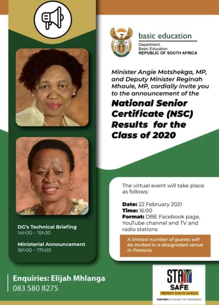 The National Announcement of the 2020 Matric Results