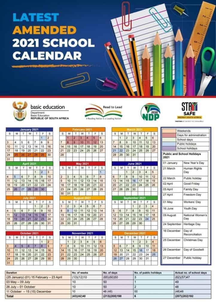 New Amended 2021 School Calendar
