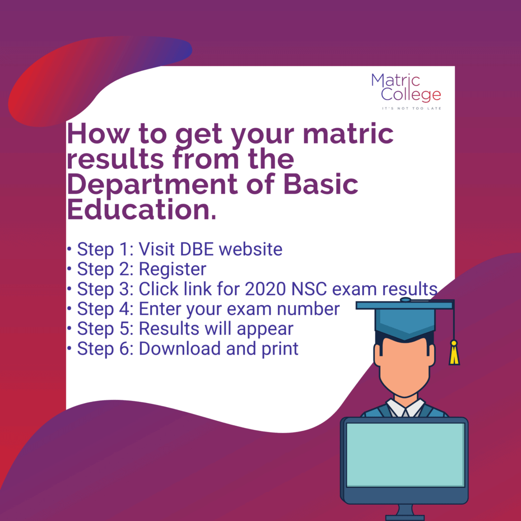 how to get your matric results from the department of basic education