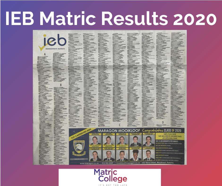 IEB Matric Results 2020