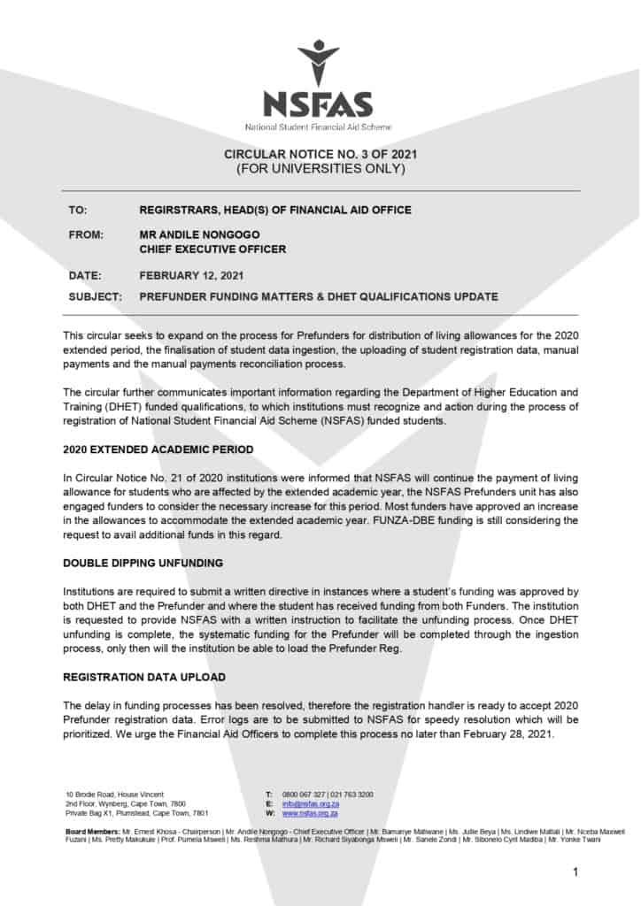 NSFAS Cancels Teaching and Nursing Training
