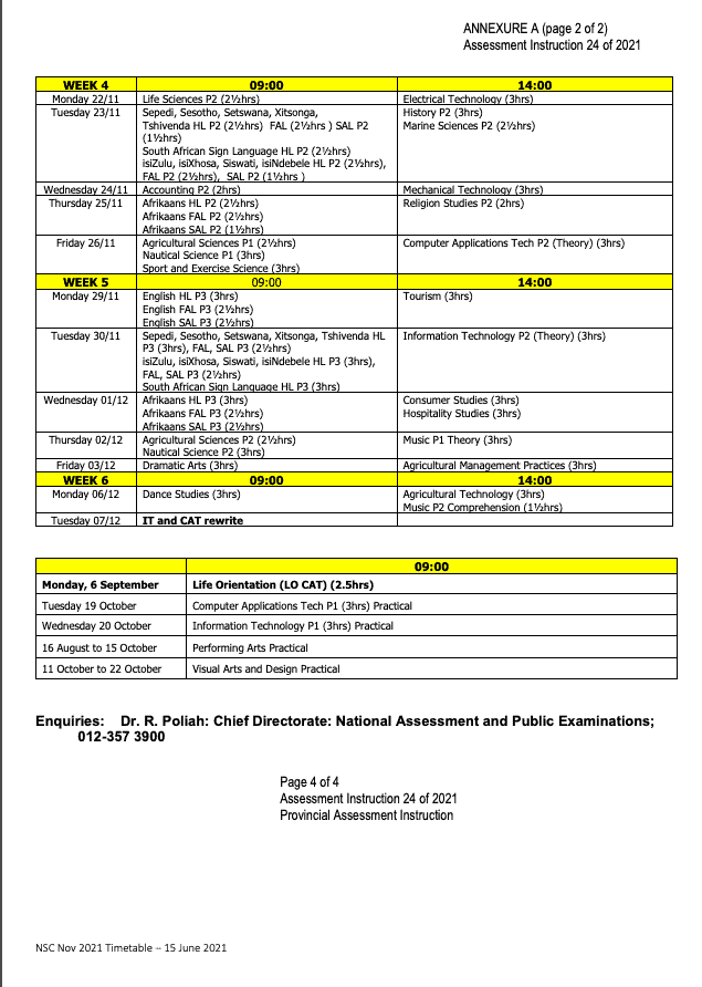 Exam timetable 2021